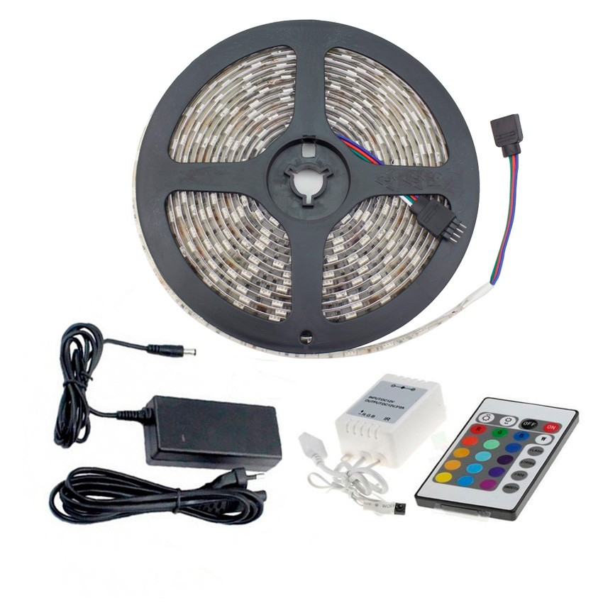 kit led strip 48w 60led m 5m ip65 rgb fernbedinung. Black Bedroom Furniture Sets. Home Design Ideas