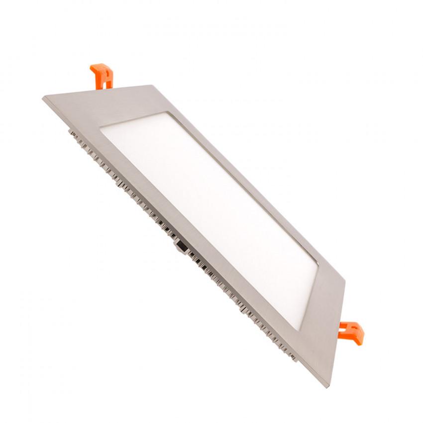 Dalle LED Carrée Extra-Plate 15W Argentée Coupe 180x180mm