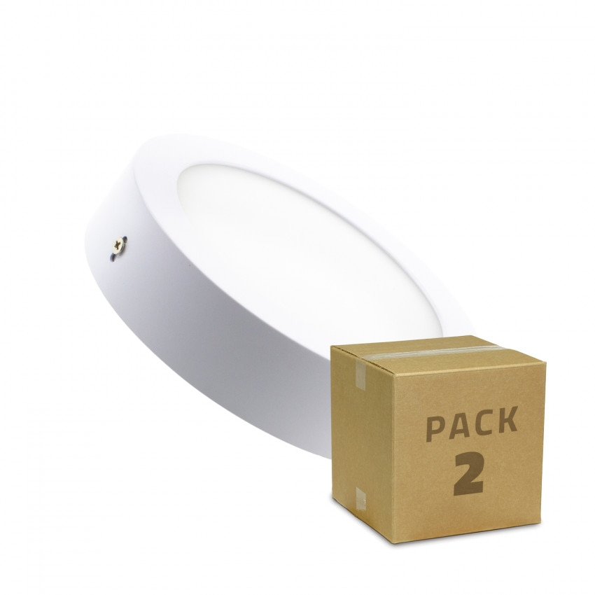 Pack Plafonniers LED Rond 12W (2 Un)