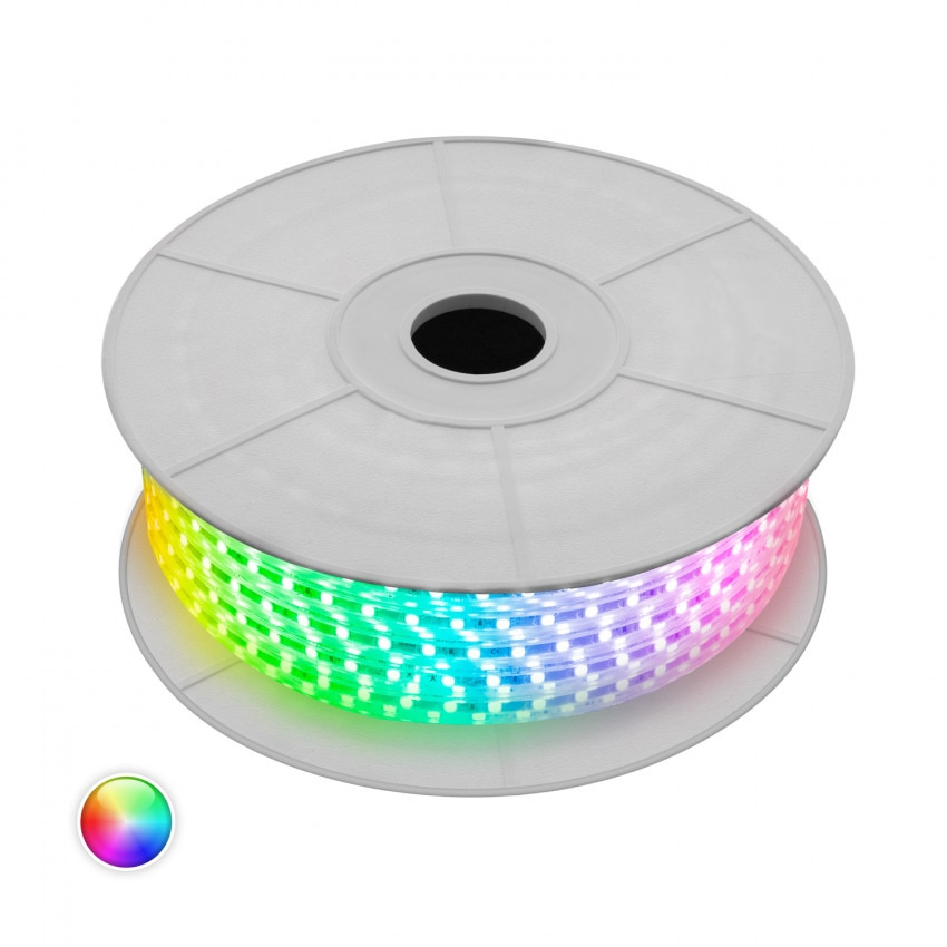 Bobine LED 220V AC Dimmable 60 LED/m IP65 RGB (50 Mètres) Coupe Tous les 100cm