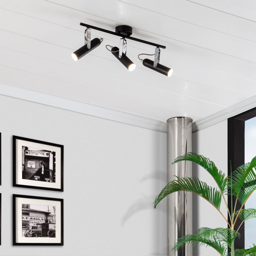 Plafonnier LED Orientable Bari 3 Spots 12W Noir