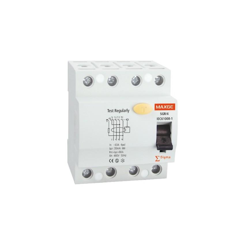Interrupteur Différentiel Industriel MAXGE 4P-30mA-Classe A-10kA Haute Immunité