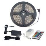Kit Ruban LED 24W 30LED/m 5m IP65 RGB avec Télécommande, Contrôleur et Bloc d'Alimentation