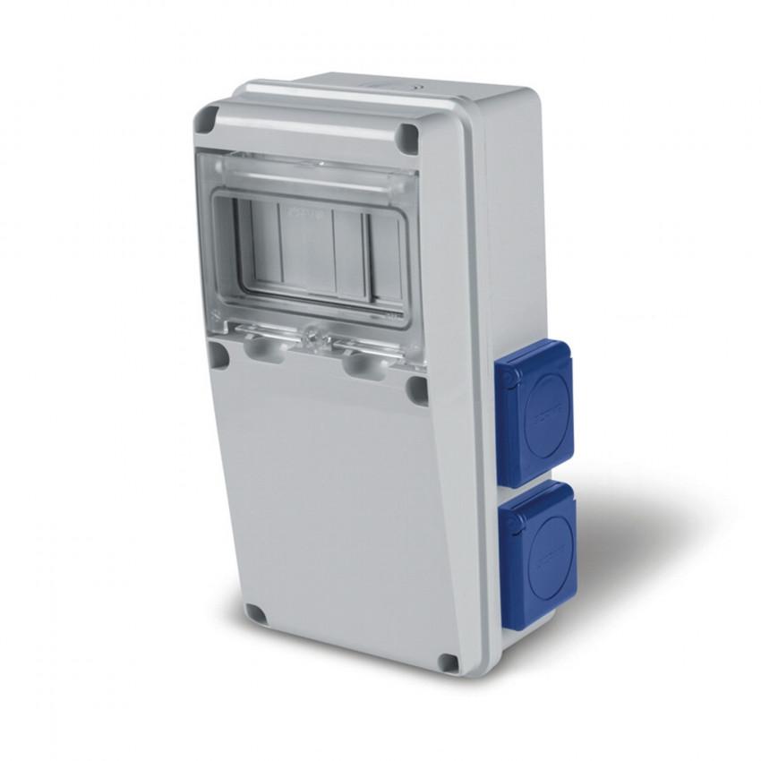 Coffret Électrique 6 Modules DIN 4 Prises TYPE F IP54 Enerbox SCAME
