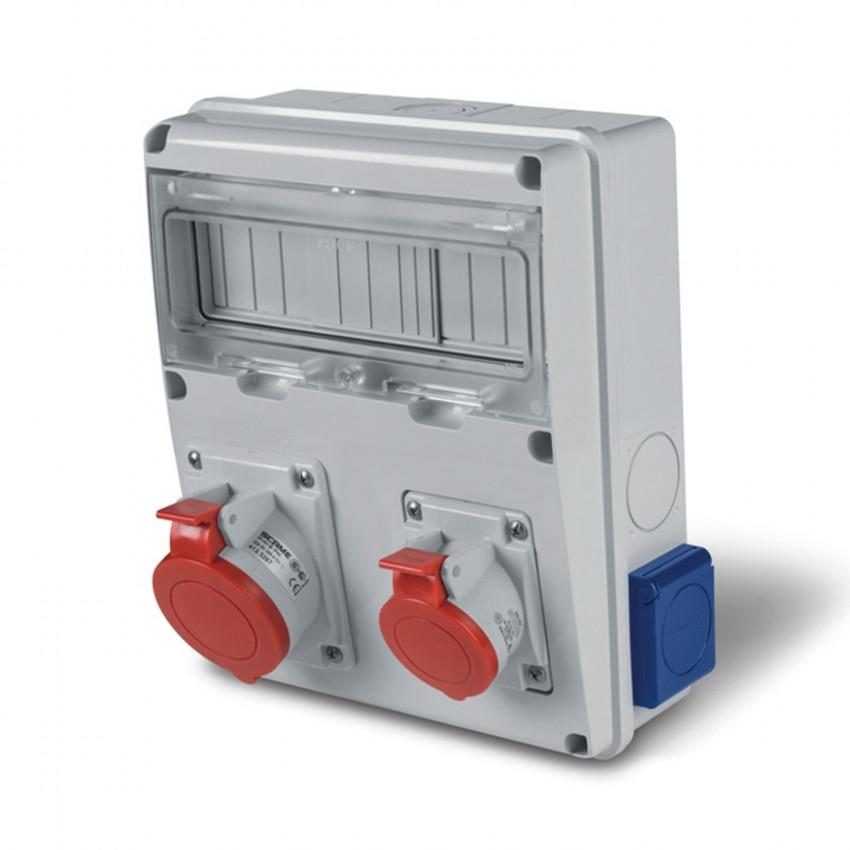Coffret Électrique 11 Modules DIN 2 Prises 3P+N+T 32A + 2 Prises type F IP44 Enerbox SCAME