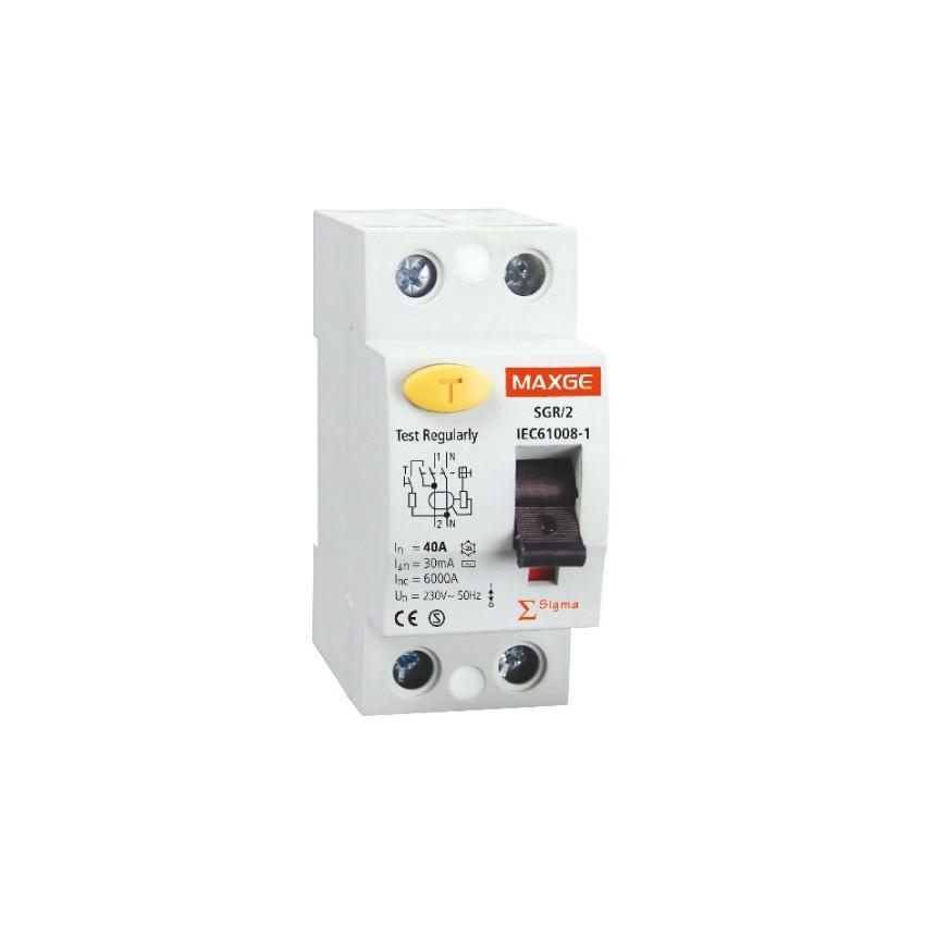 Interrupteur Diférenciel Industriel MAXGE 2P-40A-30mA-Classe AC-6kA