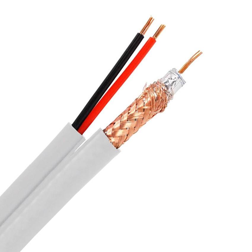 300m Câble Coaxial RG59 Cuivre-Aluminium avec 2 Câbles Électriques