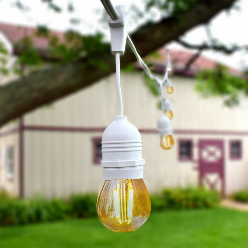 Kit Guirlande Waterproof 5.5m Blanche + 8 Ampoules LED E27 Filament 4W