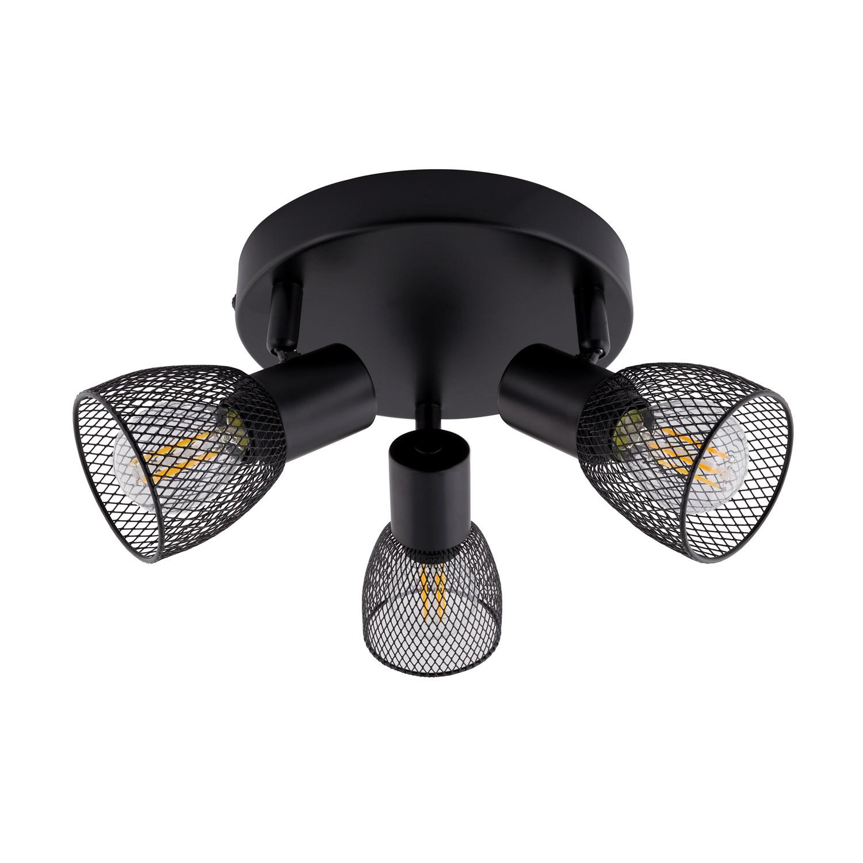 lampe de plafond ronde orientable grid 3 spots noir ledkia. Black Bedroom Furniture Sets. Home Design Ideas