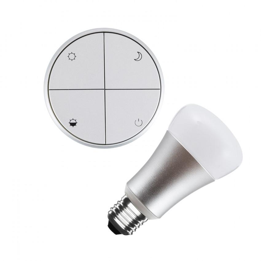 Kit Poussoir Sans Fils Argenté Dimmable + Ampoule LED 8W