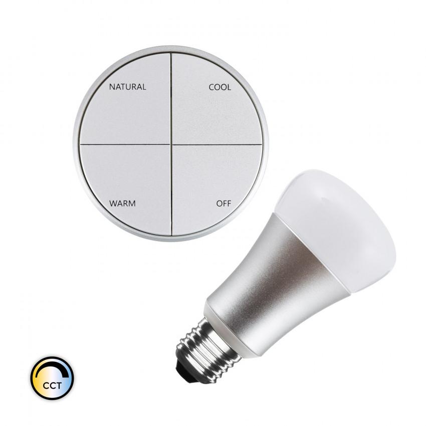 Kit Poussoir Sans Fils Argenté CCT Sélectionnable + Ampoule LED 8W