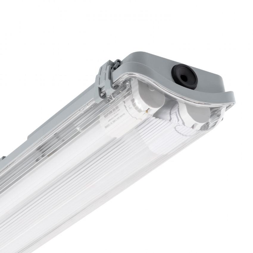 Kit Réglette Étanche Slim avec 2 Tubes LED T8 600mm Connexion Latérale