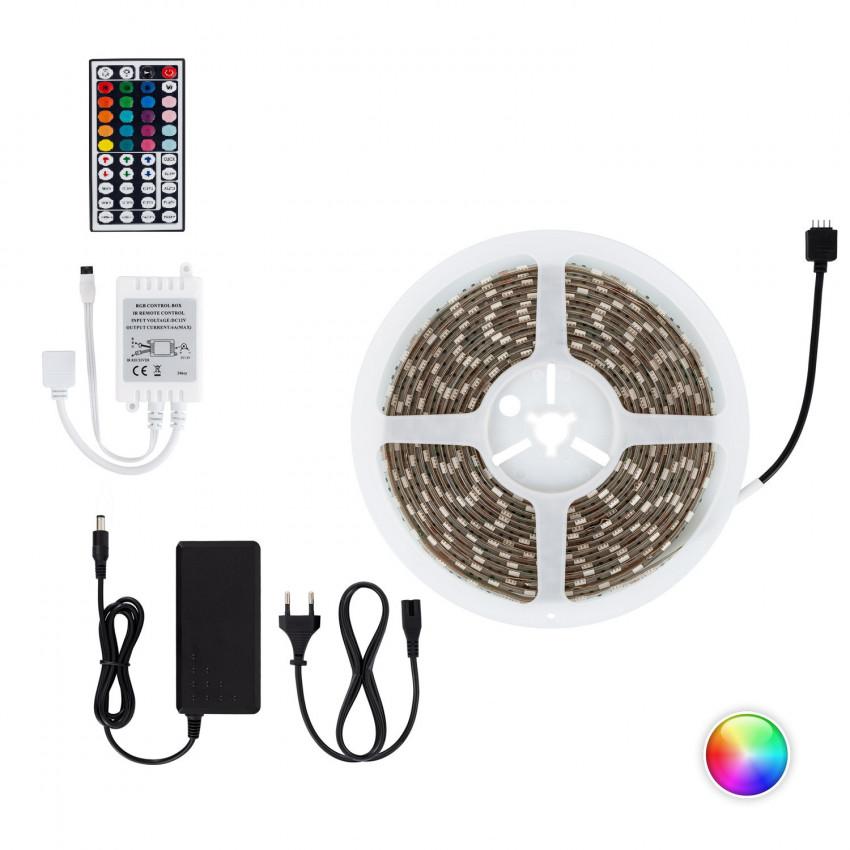Kit Ruban LED 60LED/m 5m IP65 RGB avec Télécommande, Contrôleur et Bloc d'Alimentation