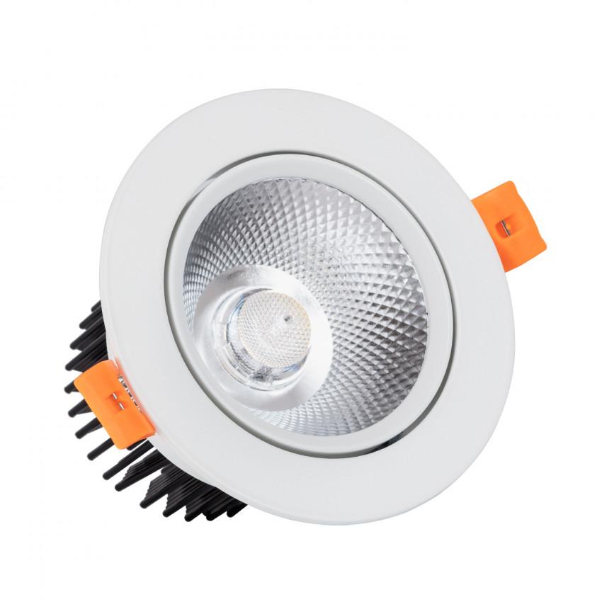 Spot Downlight LED COB Orientable Rond (UGR19) 12W Blanc Coupe Ø 90mm