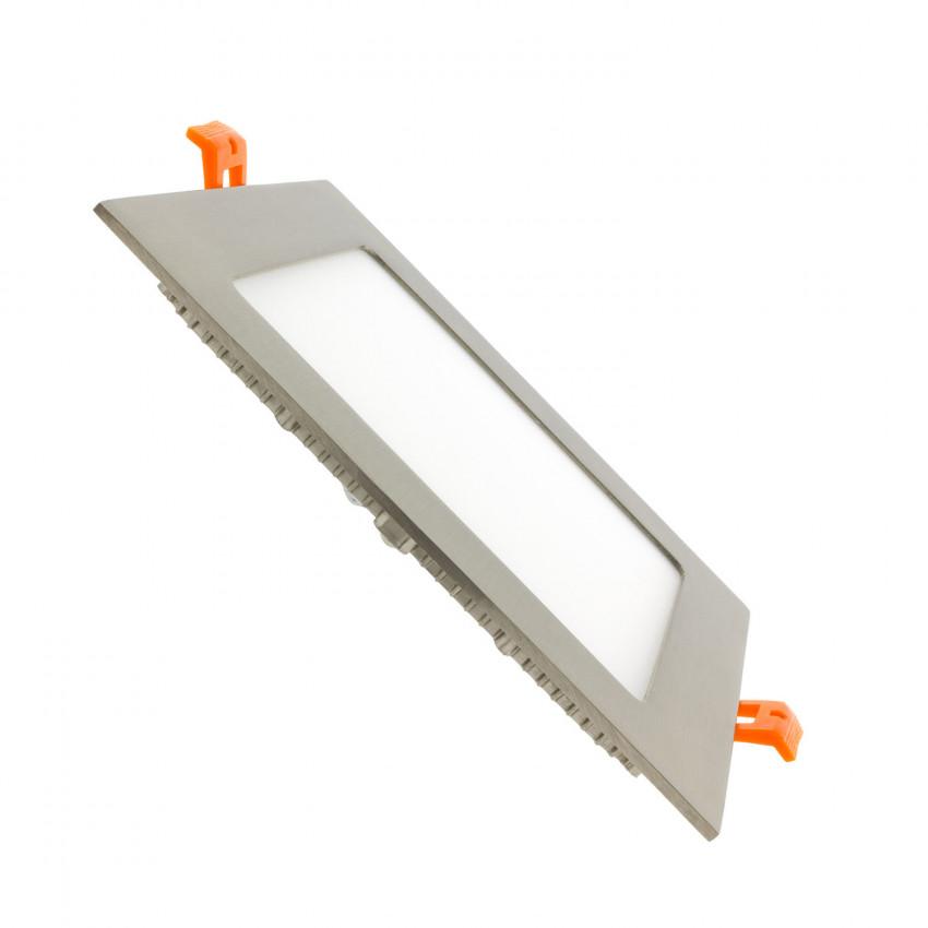 Dalle LED Carrée Extra-Plate 12W LIFUD Argentée Coupe 152x152mm