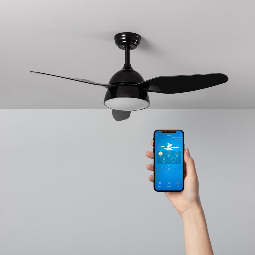 Ventilateur de Plafond LED New Industriel Noir 116cm Moteur AC WiFi