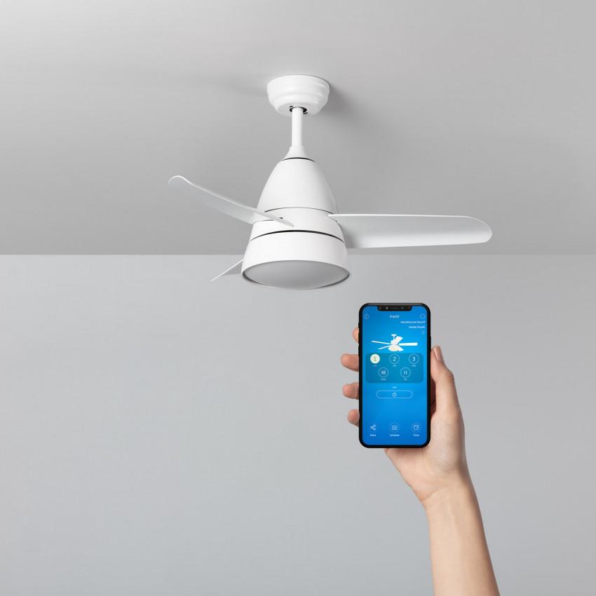 Ventilateur de Plafond LED Industriel Blanc 91cm Moteur AC WiFi