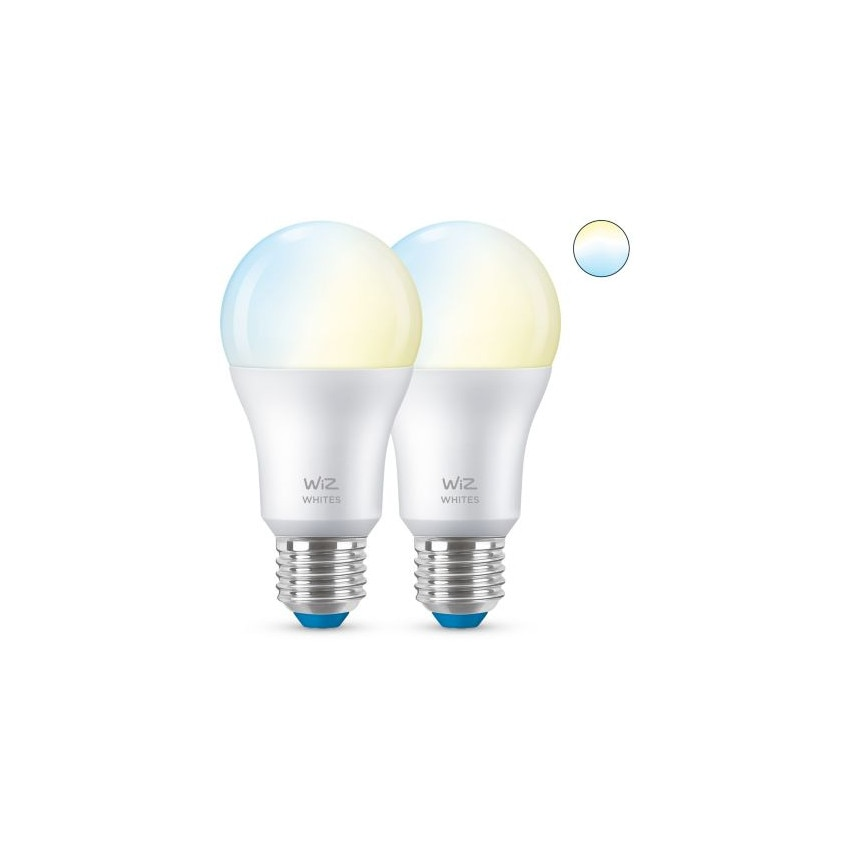 Pack 2 Ampoules LED Smart WiFi + Bluetooth E27 A60 CCT Dimmable WIZ 8W