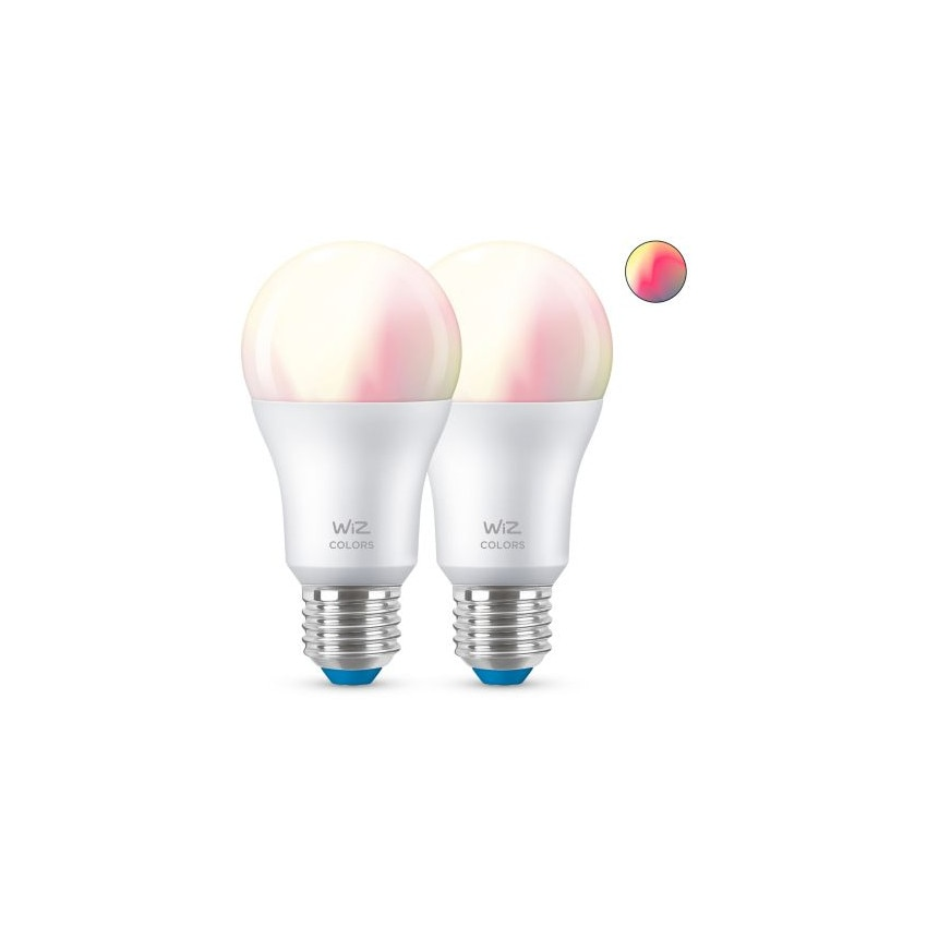 Pack 2 Ampoules LED Smart WiFi + Bluetooth E27 A60 RGB+CCT Dimmable WIZ 8W