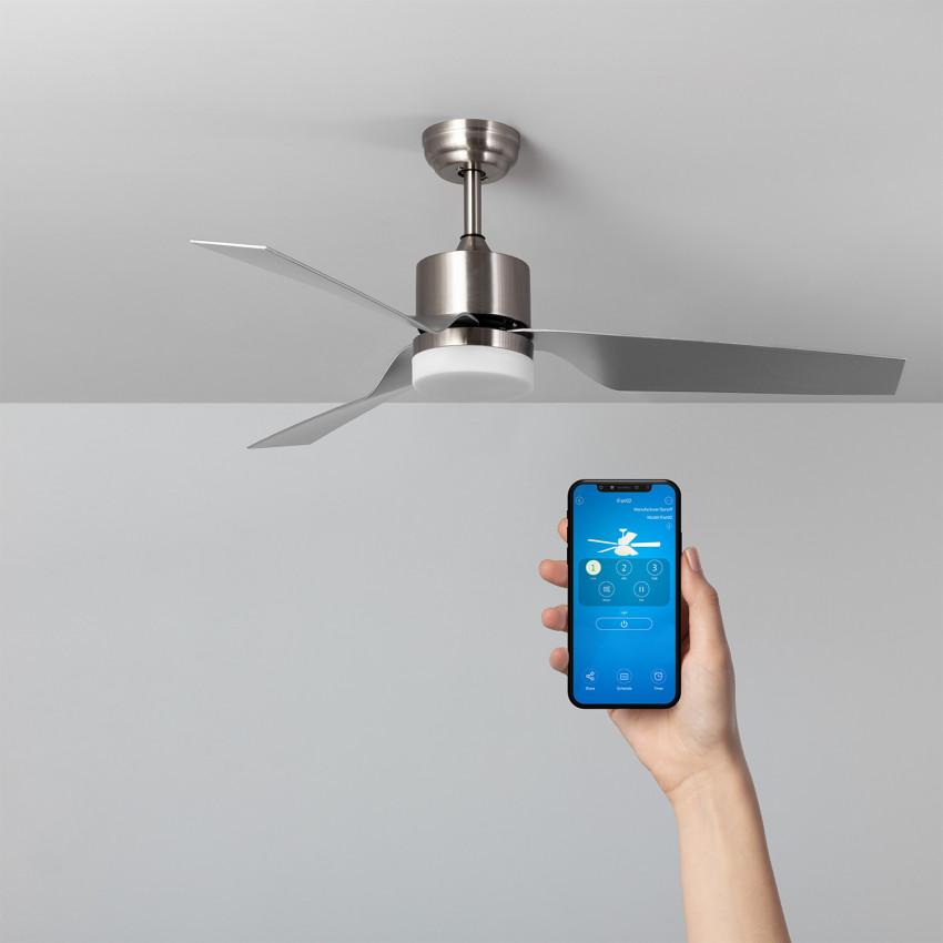 Ventilateur de Plafond LED Minimal PRO Niquel 132cm Moteur AC WiFi