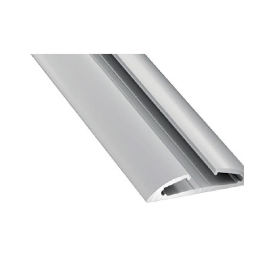 Profilé Aluminium en Saillie Semi-Arrondie 2m pour Double Ruban LED 15º Inclinaison Branchement à Droite