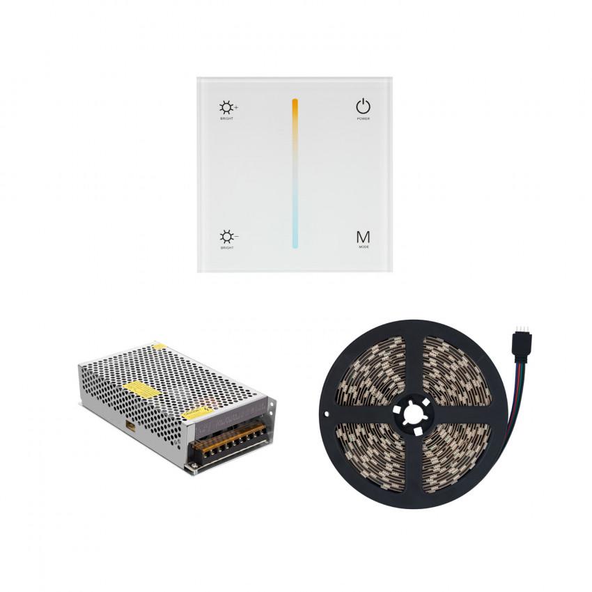 Ruban LED CCT Sélectionnable 60LED/m 12V DC 5m IP20 avec Contrôleur Tactile et Bloc d'Alimentation