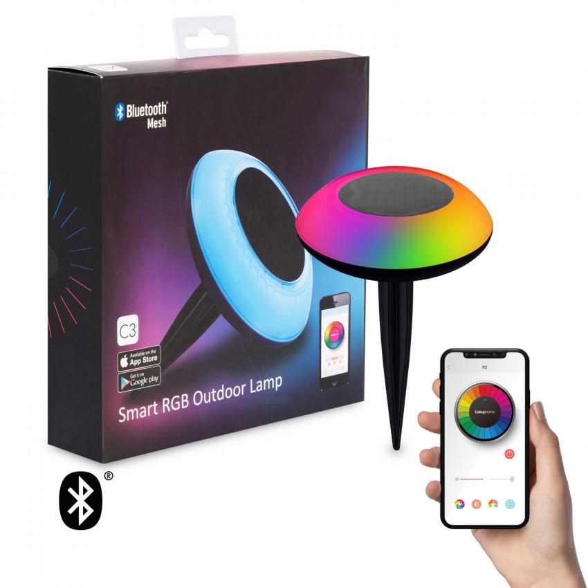 Balise LED Solaire RGBW avec Piquet Extérieur pour Smartphone avec Contrôle Bluetooth IP65