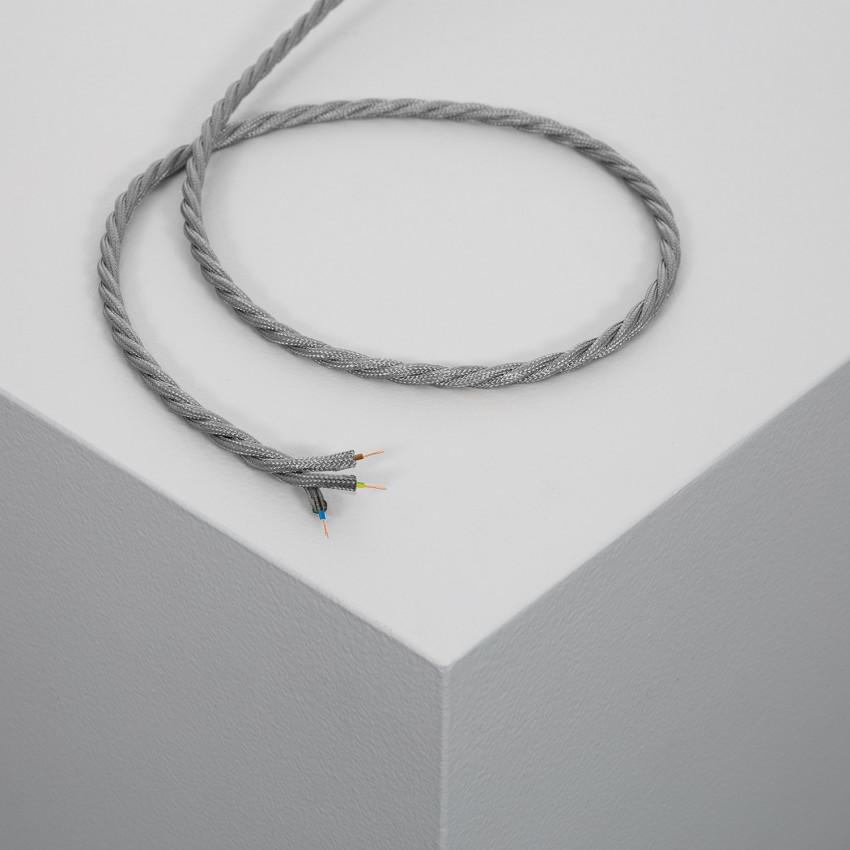 Câble Textile Tressé Gris