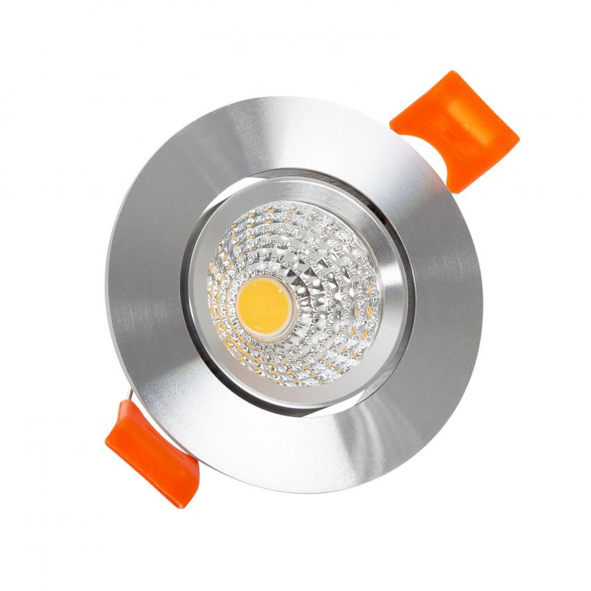 Spot Downlight LED COB Orientable Rond 3W Argenté Coupe Ø 55mm CRI92 Expert Color