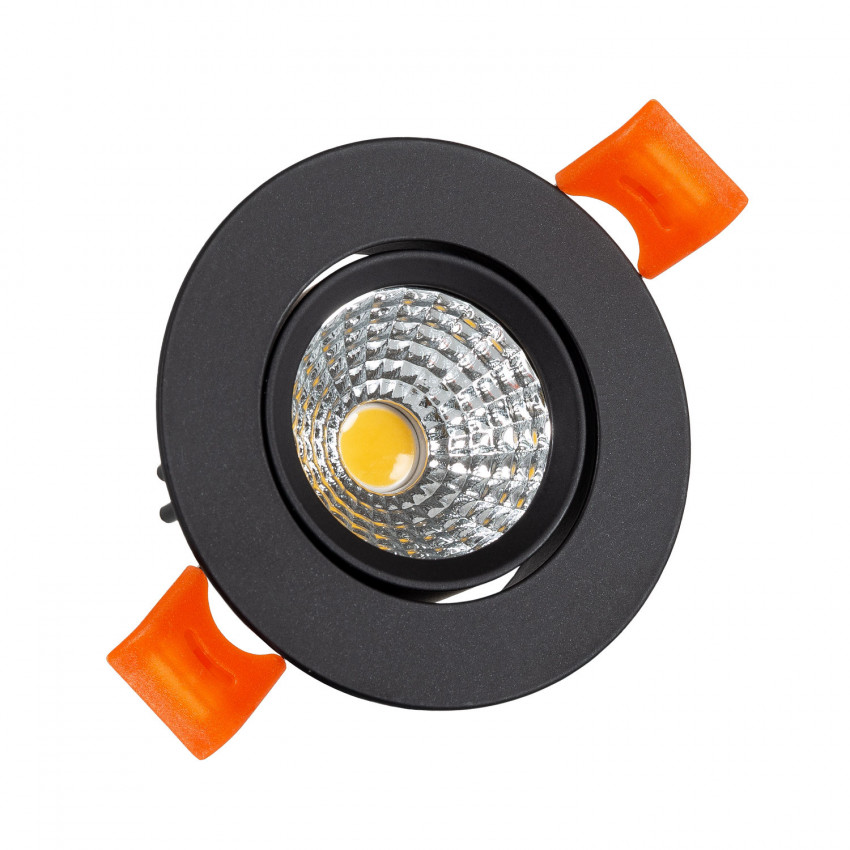 Spot Downlight LED Orientable COB Rond (UGR19) 15W Noir Coupe Ø90mm CRI92 Expert Color