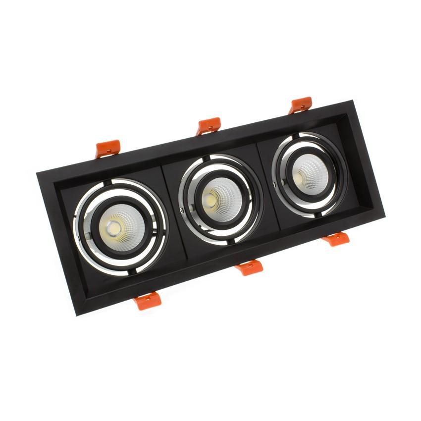 Spot Downlight LED CREE-COB Madison Orientable 3x10W Noir LIFUD (UGR 19) Coupe 295x110mm