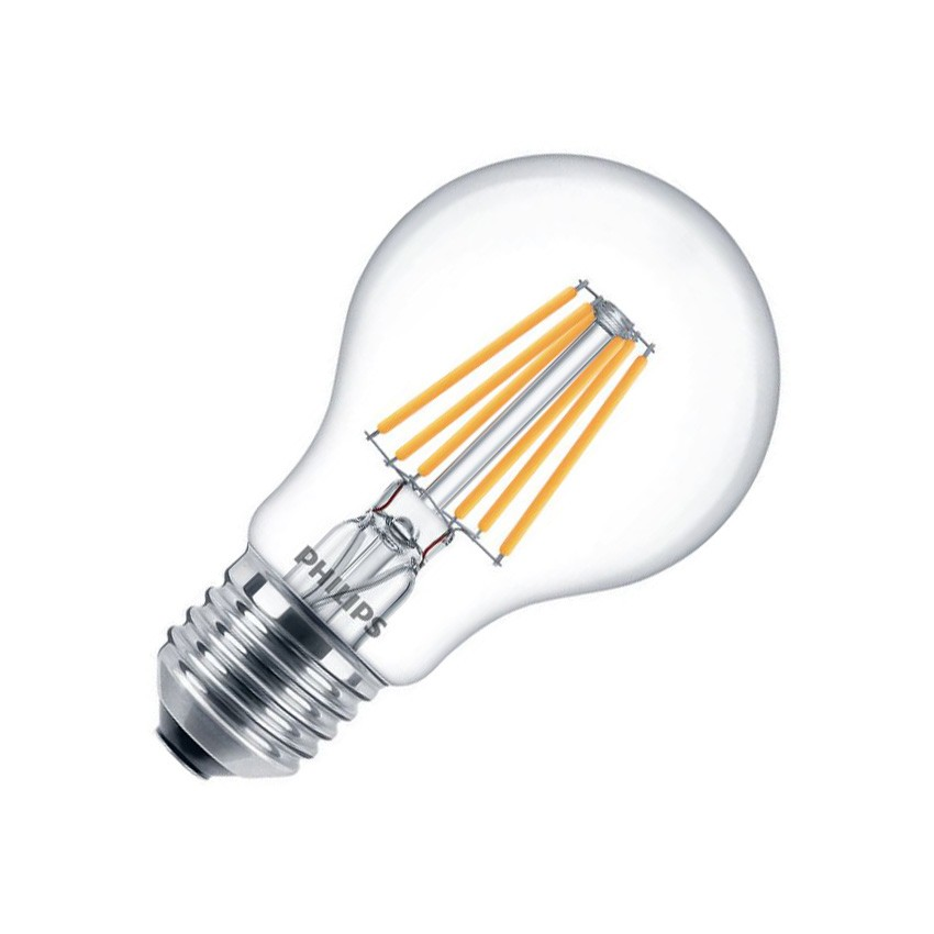 Lampadina led e27 a60 filamento philips cla 8w ledkia italia for Lampadina e27 led