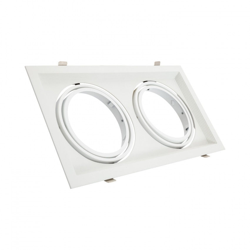 Square Tilting Halo Aluminium Downlight for 2x AR111 LED Bulbs