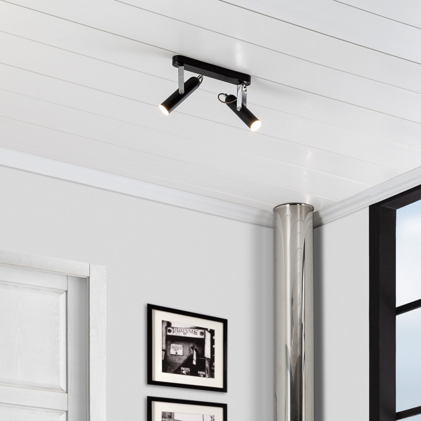 Adjustable 8W Big Bari LED Surface Spotlights in Black (x2)