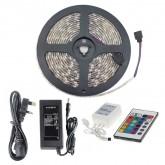 Kit Tira LED 48W 60LED/m 5m IP20 RGB con Mando, Controlador y Fuente de Alimentación