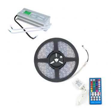 KIT: 5m 70W RGBW LED Strip 12V DC, SMD5050, 120LED/m, IP67 with a  Controller, Remote and IP67 Power Supply