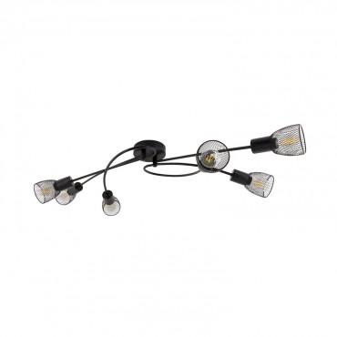 Black Grid Design Ceiling Light With 6x Spotlights