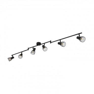 Black Adjule Grid Ceiling Light With 6x Spotlights