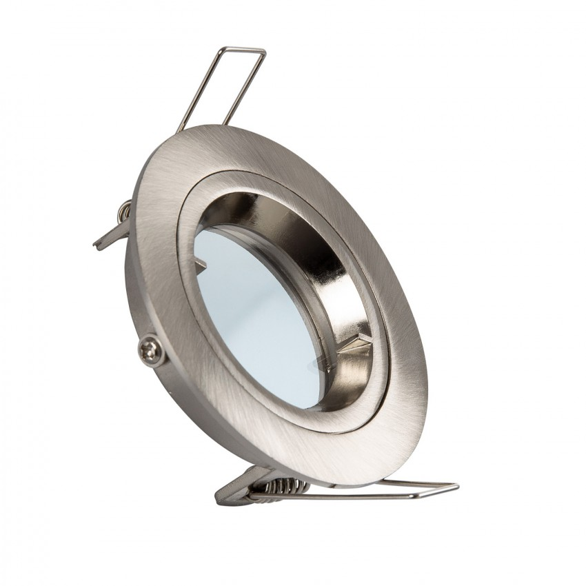 Silver Round Halo Downlight for GU10 / GU5.3 LED Bulbs