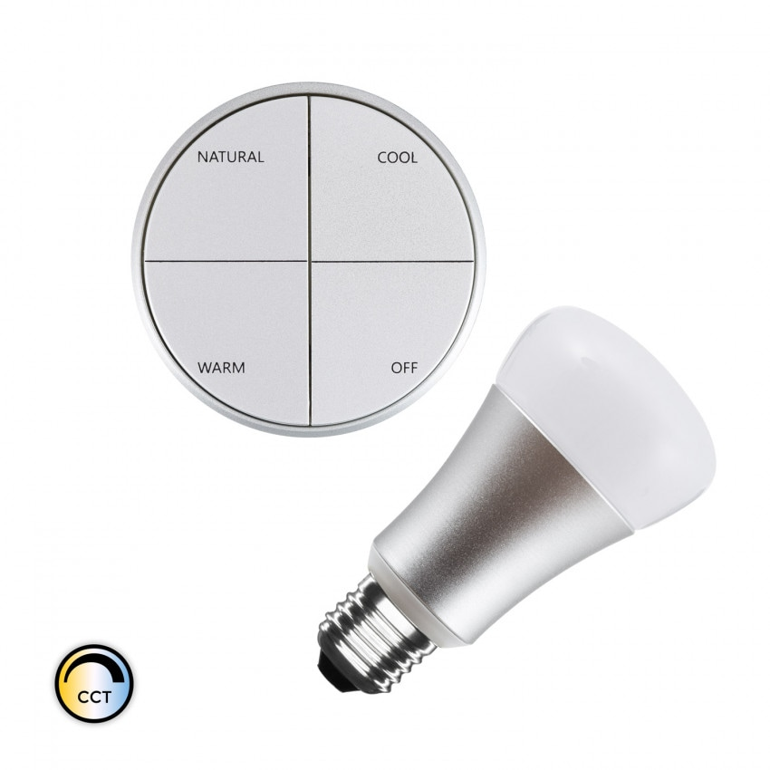 Silver Wireless Switch Kit w/ Selectable CCT + 8W LED Bulb
