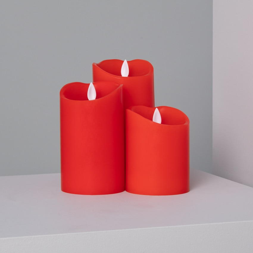Pack of 3x Red Natural-Wax LED Candles - Special Flame