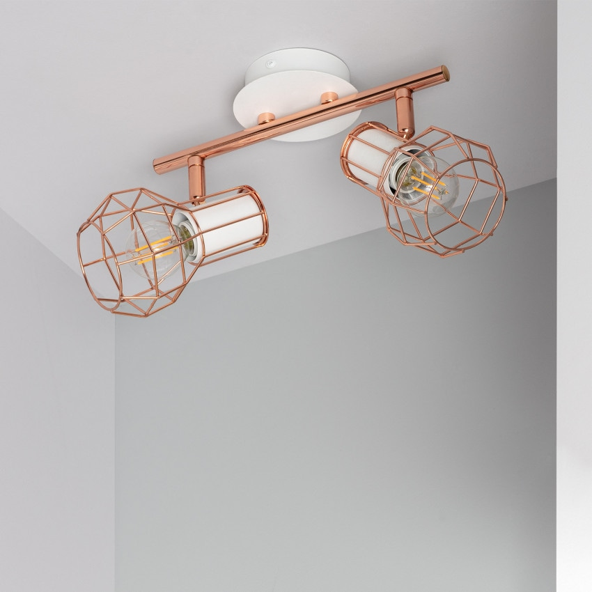Adjustable Lada Surface Spotlights in White Copper (x2)