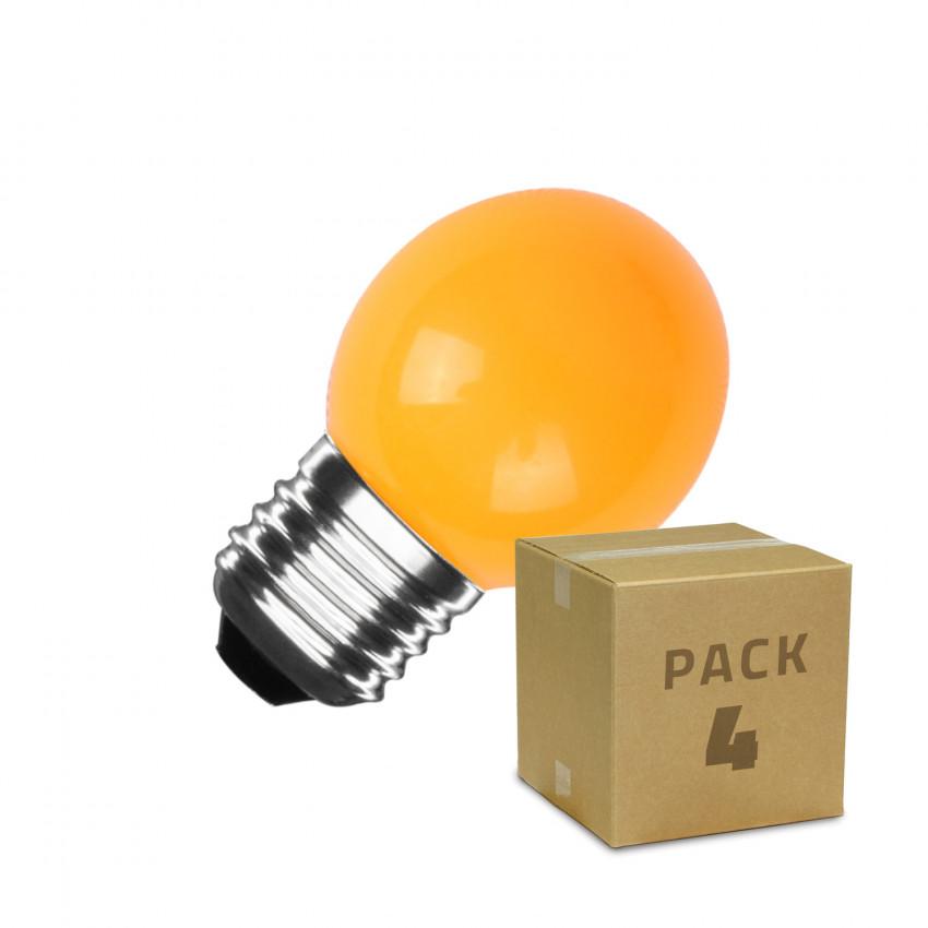 Pack of 4  E27 G45 3W LED Bulb Orange
