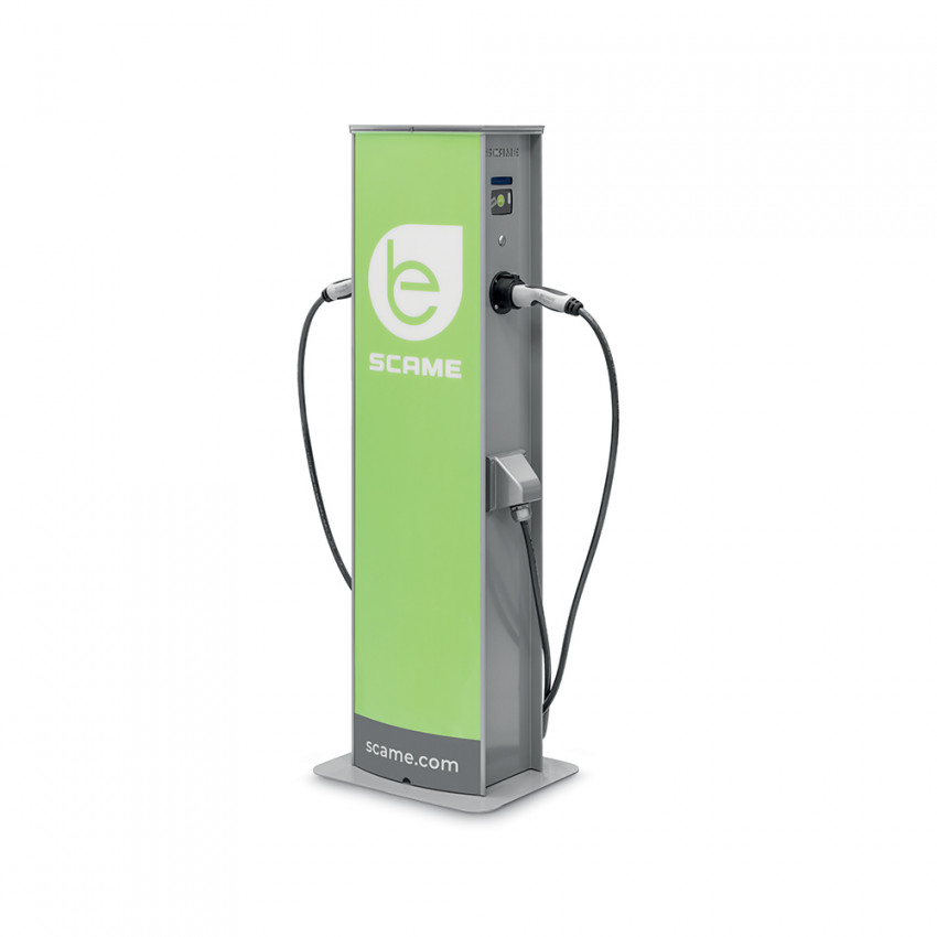 7.4 kW Single Phase Electric Car Charging Point with 2 Sockets and Mennekes Lock SCAME 204.CA21R-T23T23