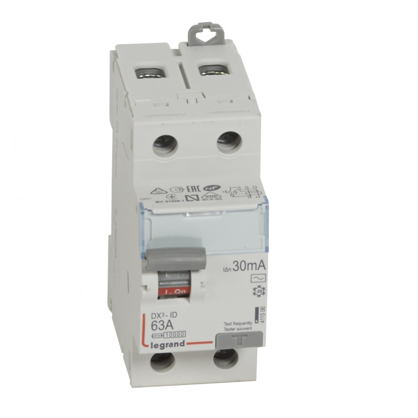 LEGRAND 411506 30mA Type AC 63 A DX3 Tertiary 2P Differential Switch
