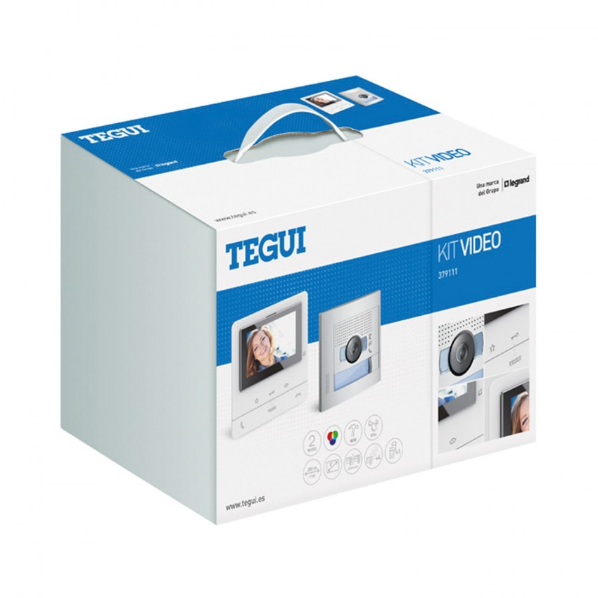 TEGUI 379111 1 House 2-Wire Basic CLASSE 100 V16B Video Door Station Kit with SFERA NEW Panel and Handsfree Monitor