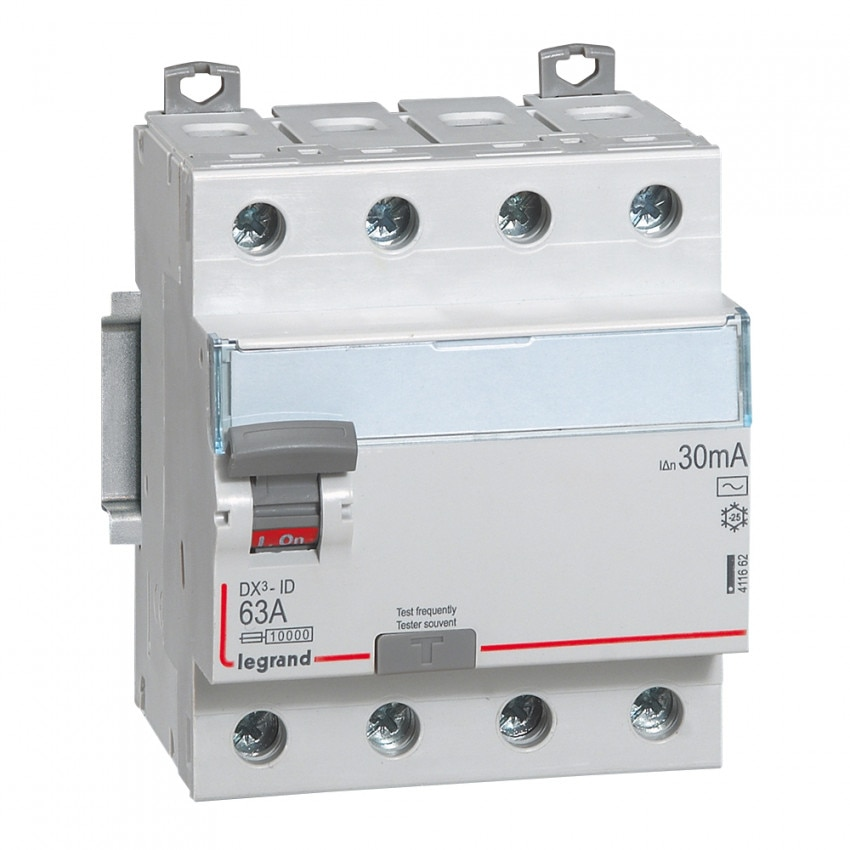 LEGRAND 411662 30mA Type AC 63A DX3 Tertiary 4P Differential Switch