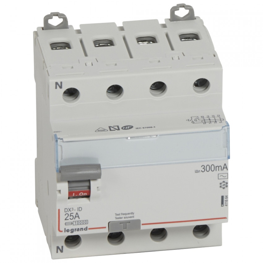 LEGRAND 411664 300mA Type AC 25-63 A DX3 Tertiary 4P  Differential Switch