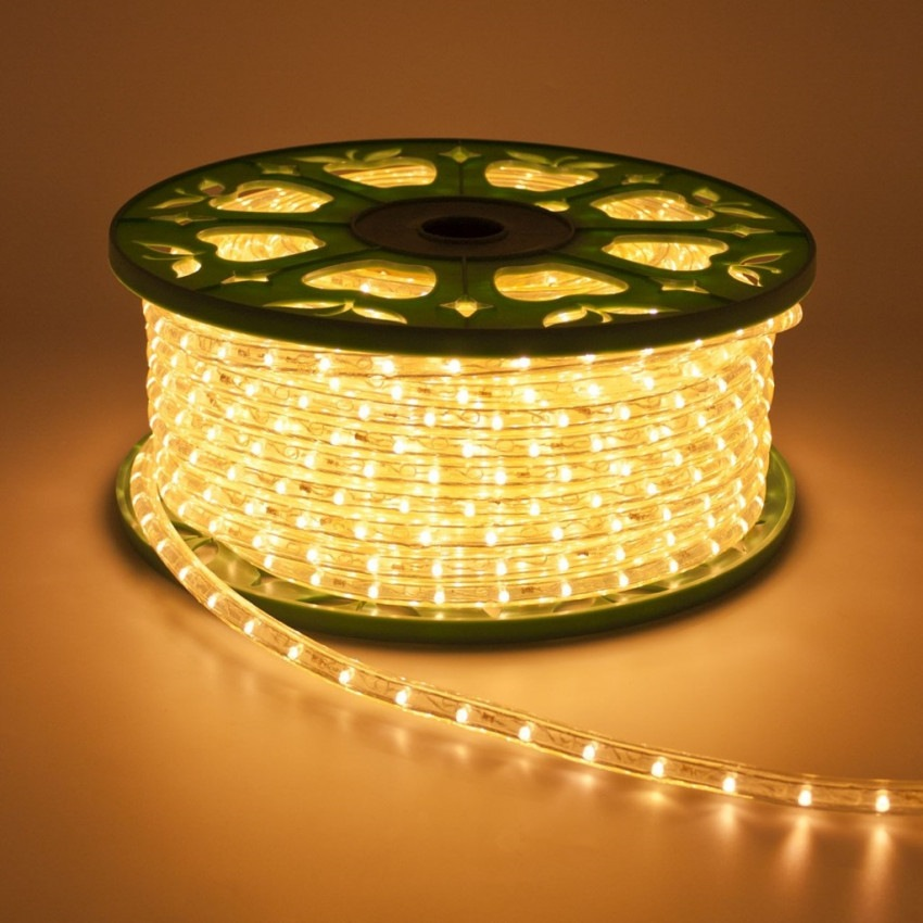220V AC 36 LED/m LED Rope Light in Warm White IP65 Custom Cut every 100cm