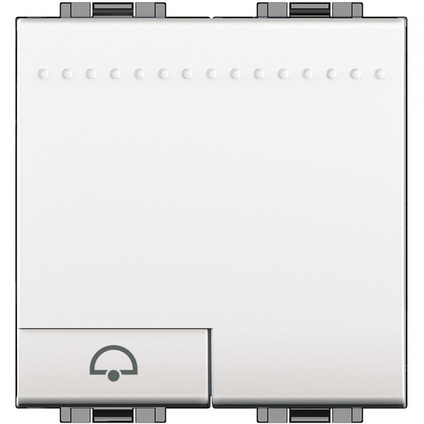 BTicino Living Light N4042M2N 250V AC Bell Symbol 2 Modules Auto Terminal Pushbutton Switch Mechanism